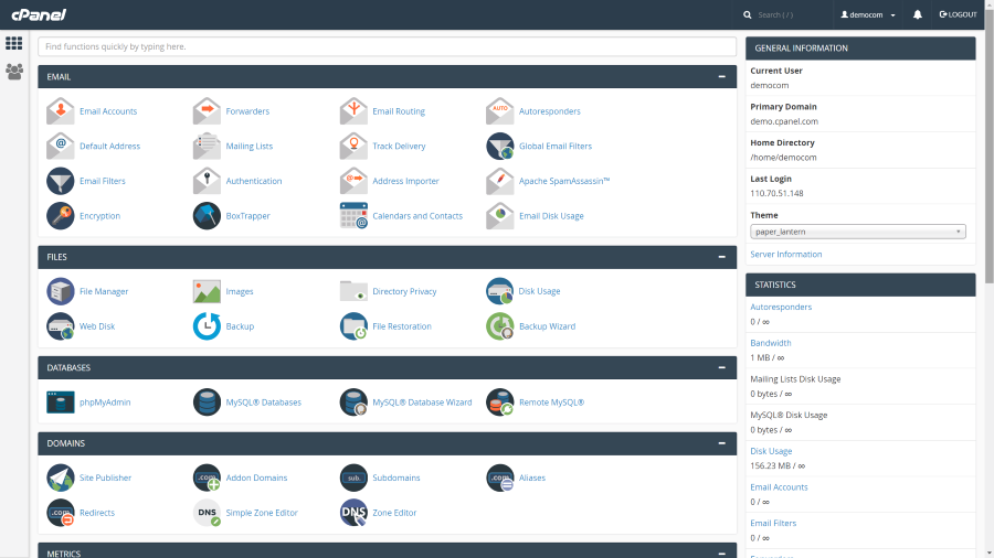 cPanel Dashboard Demo